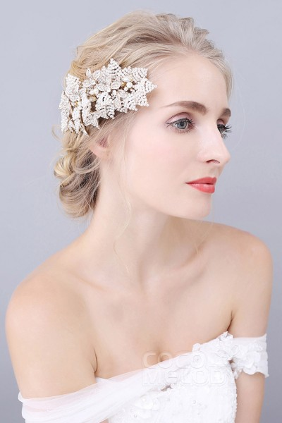 Impressive White Alloy Wedding Hair Combs with Rhinestone and Imitation Pearl SAH160022