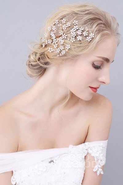 Modern Gold Alloy Wedding Hair Combs with Rhinestone Crystal and Opal SAH160028
