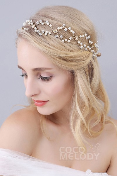 Perfect Gold Alloy Wedding Headbands with Rhinestone Imitation Pearl and Flowers SAH160043