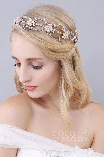 Gorgeous Gold Alloy Wedding Headbands with Rhinestone Imitation Pearl and Crystal SAH160045