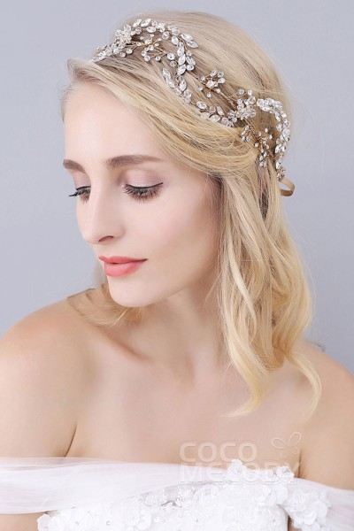 Romantic Gold Alloy Wedding Headbands with Rhinestone and Crystal SAH160047