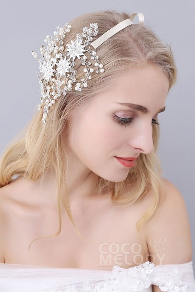 Unique Silver Cloud Alloy Wedding Headbands with Rhinestone Imitation Pearl and Flowers SAH160054