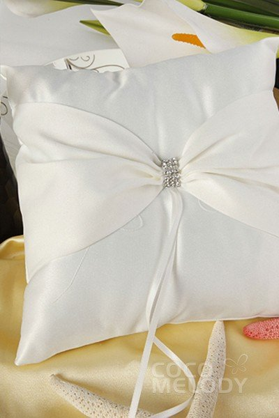 unique satin ivory wedding ring pillow sjz15014 - Wedding Ring Pillow