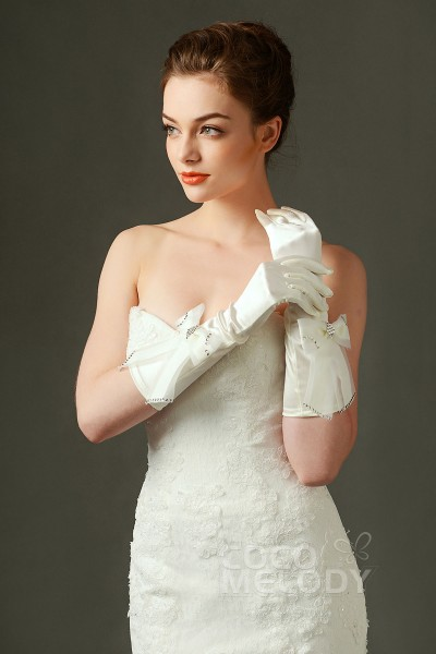 Fingertips Elbow Length Elastic Satin Ivory 23cm Wedding Gloves with Beading and Bowknot ST160001