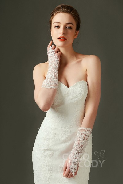 Fingerless Elbow Length Tulle and Lace Ivory 27cm Wedding Gloves with Appliques and Beading ST160018