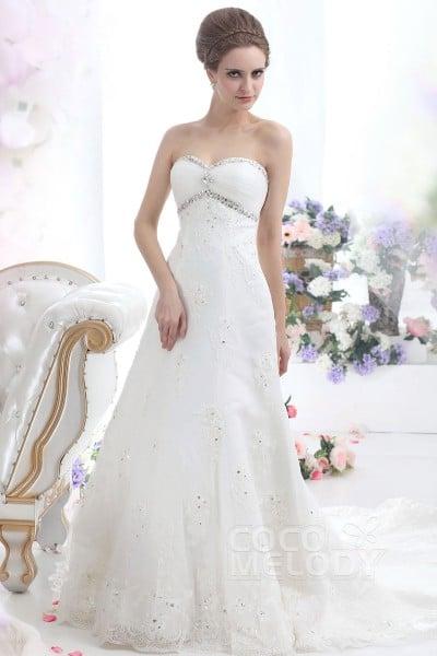 Stylish Sheath-Column Sweetheart Chapel Train Lace Wedding Dress CWLT13080