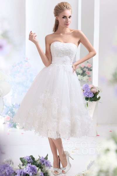 Dreamy A-Line Sweetheart Tea Length Tulle Wedding Dress CWLA13003