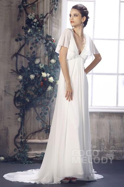 Fantastic Sheath-Column V-Neck Empire Court Train Chiffon Wedding Dress CWZT13024