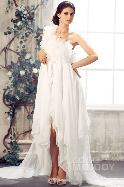 Graceful Asymmetrical One Shoulder Empire Sweep-Brush Train Chiffon Wedding Dress CWZH13001