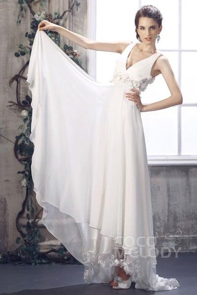 Sweet Sheath-Column V-Neck Empire Waist Sweep-Brush Train Chiffon Wedding Dress CWZF13008