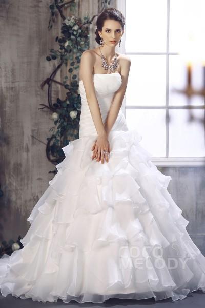 Graceful Princess Strapless Dropped Waist Chapel Train Organza Wedding Dress CWLT13027
