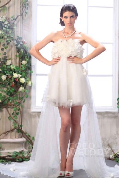 Beach Asymmetrical Strapless Empire High-Low Tulle Wedding Dress CWZH13002