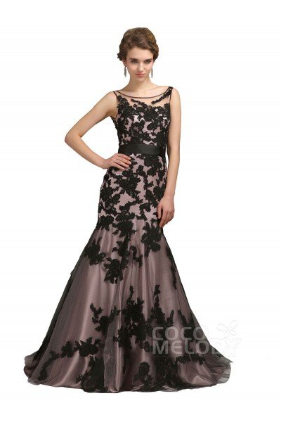 Fabulous Trumpet-Mermaid Illusion Sweep-Brush Train Lace Mother of the Bride Dress COKT13001