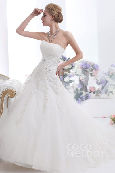 Dreamy A-line Sweetheart Court Train Tulle Lace Up-Corset Wedding Dress CWLT13060