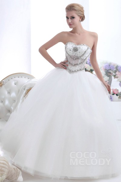 Delicate Ball Gown Sweetheart Basque Waist Floor Length Tulle Wedding Dress CWUF13002