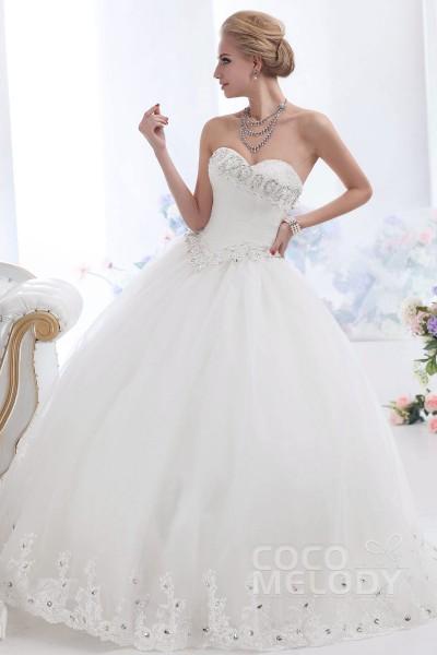 grand ball gown sweetheart basque waist floor length tulle wedding dress cwuf13003