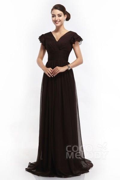 Sheath-Column V-Neck Sweep-Brush Train Chiffon Black Cap Sleeve Open Back Mother Of The Bride Dresses COLT14001