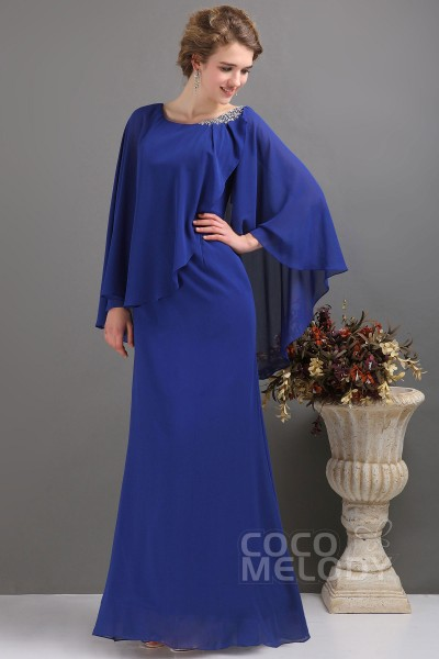 Latest Sheath-Column Floor Length Chiffon Sodalite Blue Mother Of The Bride Dress COZF13017