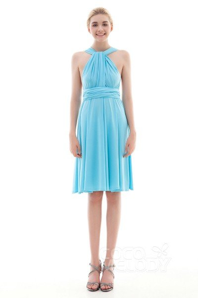 Unique Sheath-Column Natural Knee Length Knitted Fabric Angel Blue Glow Sleeveless Convertible Bridesmaid Dress COEK16002