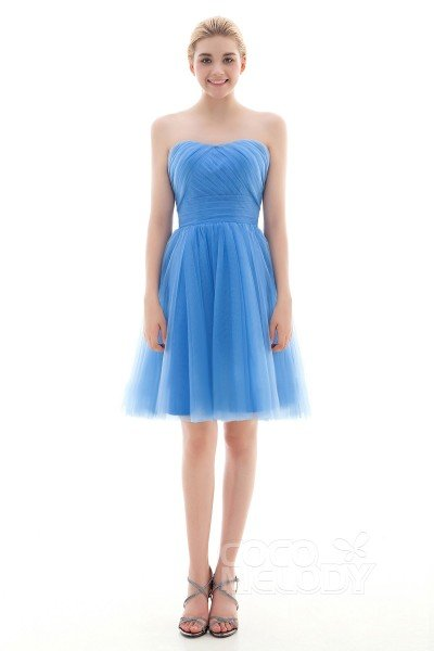 New Design A-Line Natural Short-Mini Tulle Capri Sleeveless Lace Up-Corset Convertible Bridesmaid Dress COLM16001