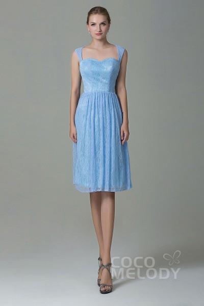 Unique Straps Natural Knee Length Lace Sleeveless Zipper Bridesmaid Dress COZK16007