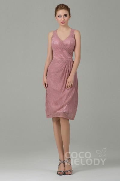Modern Sheath-Column V-Neck Natural Knee Length Lace Sleeveless Zipper Bridesmaid Dress COZK16012