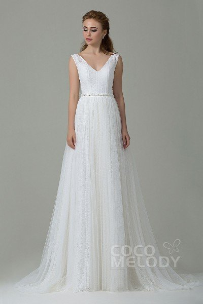 Perfect Sheath-Column V-Neck Natural Sweep-Brush Train Lace Ivory Sleeveless Open Back Wedding Dress with Appliques Beading and Sashes CWAT15002