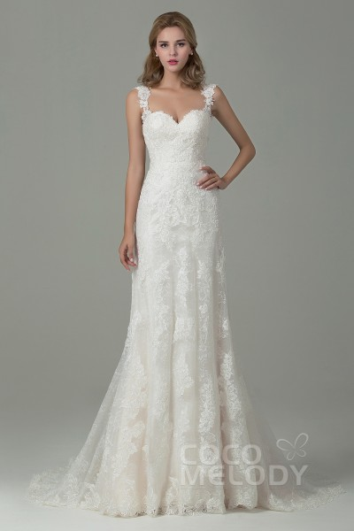 Cocomelody sheath column wedding dress column wedding dress with sheath column court train lace wedding dress with appliques cwvt15002 junglespirit Image collections