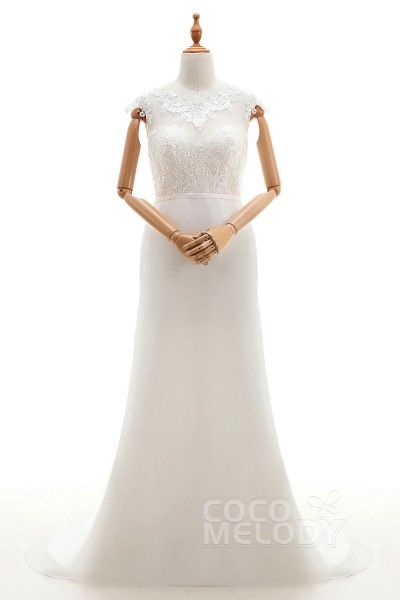 Graceful Sheath-Column Illusion Natural Sweep-Brush Train Lace and Chiffon Ivory Cap Sleeve Zipper With Buttons Wedding Dress with Appliques and Sashes cwxt14052