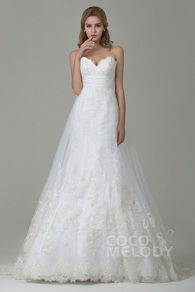 Charming A-Line Sweetheart Natural Court Train Tulle and Lace Ivory Sleeveless Zipper With Buttons Wedding Dress with Appliques and Sashes CWZT15006