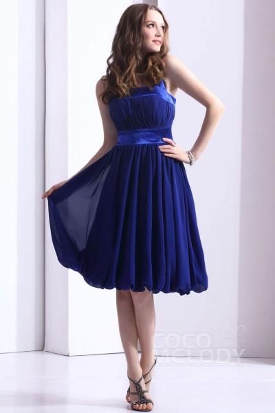 Hot Sale A-Line Halter Knee Length Chiffon Sodalite Blue Bridesmaid Dress COZK1301F