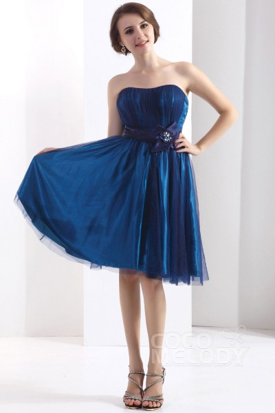 Glamour A-Line Sweetheart Knee Length Tulle Sodalite Blue Bridesmaid Dress COZK13020