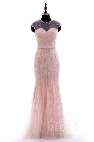Vintage Sheath-Column Illusion Floor Length Tulle Veiled Rose Cap Sleeve Zipper Prom Dress Beading Ribbons f14p0040
