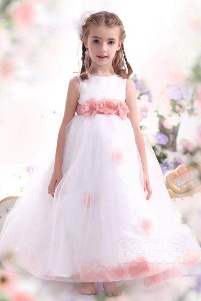 Pretty A Line Tank Top Ankle Length Organza White Girls Easter Dress CKZA13006