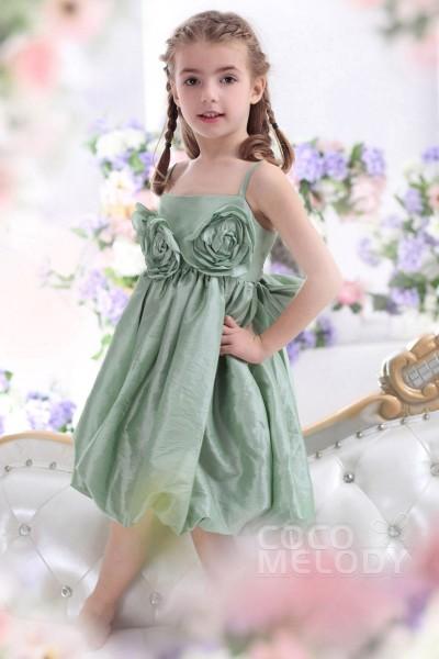 Cute A Line Spaghetti Strap Tea Length Taffeta Cascade Girls Holiday Dress CKZK13005