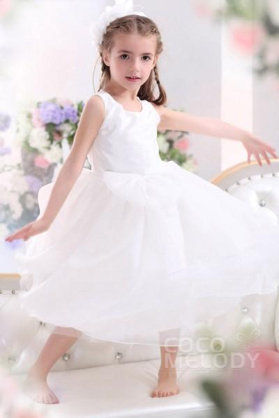 Cute A Line Tank Top Tea Length Tulle Ivory Flower Girl Dress CKZI13001