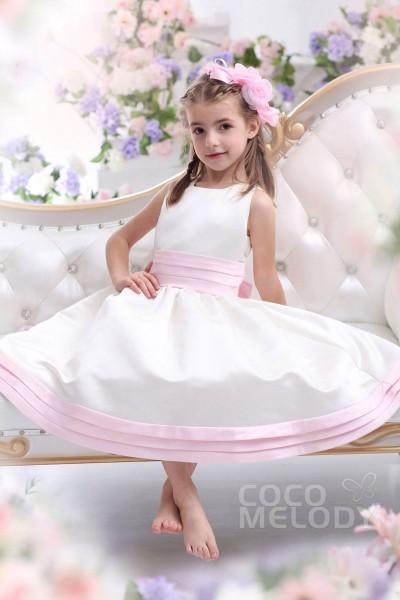 Sweet A-Line Tank Top Tea Length Satin Ivory Flower Girl Dress CKZI13002