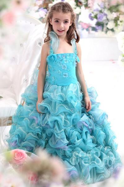 Cute Ball Gown Halter Blue Glow Floor Length Organza Girls Pageant Dress CKZF13006