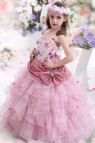 Timeless Ball Gown Spaghetti Strap Floor Length Organza Veiled Rose Girls Pageant Dress CKZF13007