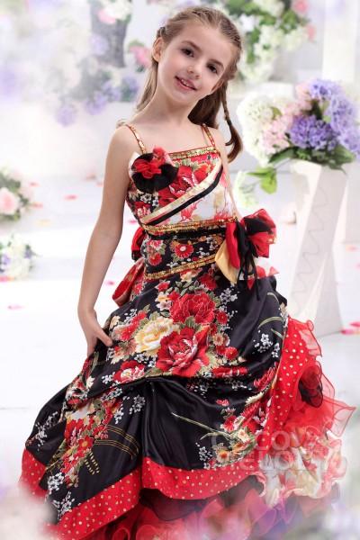 Lovely A Line Spaghetti Strap Floor Length Satin Girls Pageant Dress CKZF13008