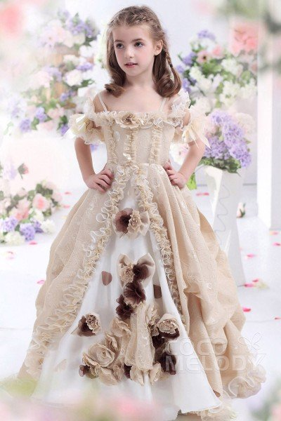 Hot Sale A-Line Spaghetti Strap Floor Length Lace Champagne Girls Pageant Dress CKJF13003