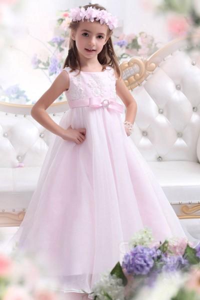 Sweet A-Line Tank Top Floor Length Organza Veiled Rose Girls Easter Dress CKZA13007