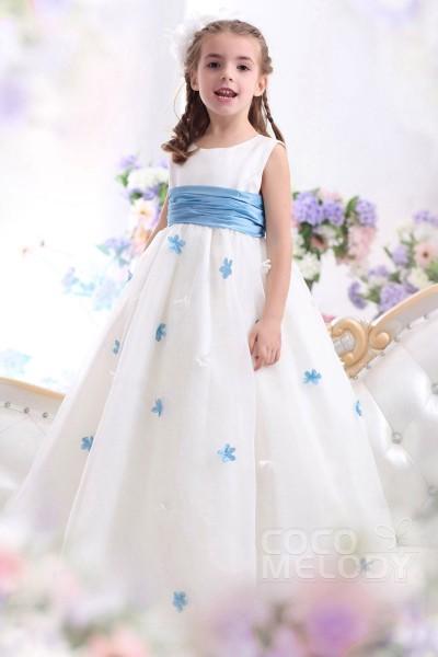 Cute A Line Tank Top Floor Length Organza Ivory Girls Easter Dress CKXA13001