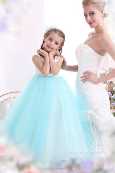 Pretty A Line Tank Top Floor Length Tulle Blue Glow Girls Easter Dress CKXA13002