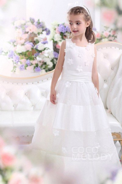 Lovely A Line Tank Top Floor Length Tulle Ivory First Communion Dress CKZA13001