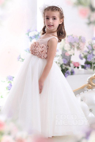 Cute A-Line Tank Top Floor Length Tulle Crystal Pink/Ivory Flower Girl Dress CKZA13003