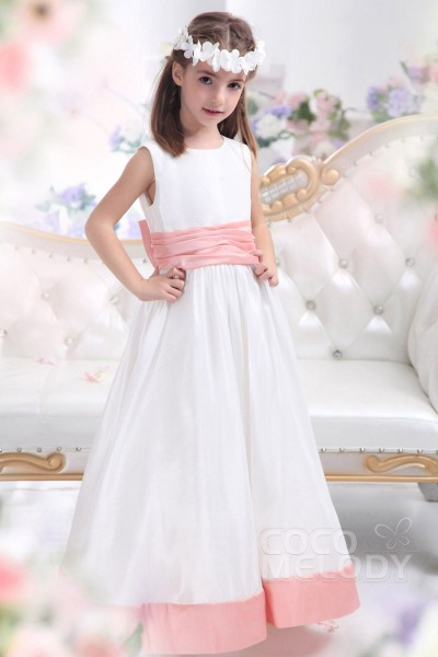 Sweet A Line Tank Top Floor Length Taffeta Ivory Flower Girl Dress CKZA13004