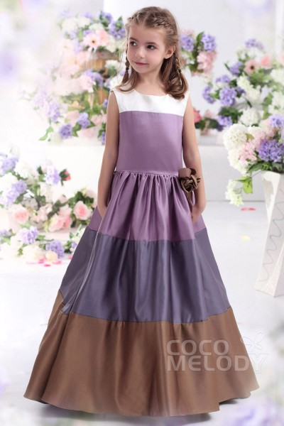 Cute A Line Tank Top Floor Length Satin Grape Royale Girls Christmas Dress CKZF13003