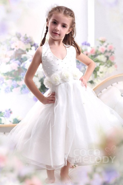 Pretty A Line Halter Tea Length Organza Ivory Flower Girl Dress CKZI13003