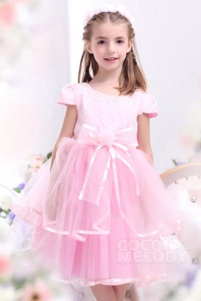 Sweet A Line Bateau Tea Length Tulle Veiled Rose Girls Formal Dress CKZI1300C